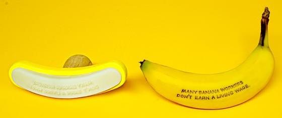 leesbare tekst op banaan
