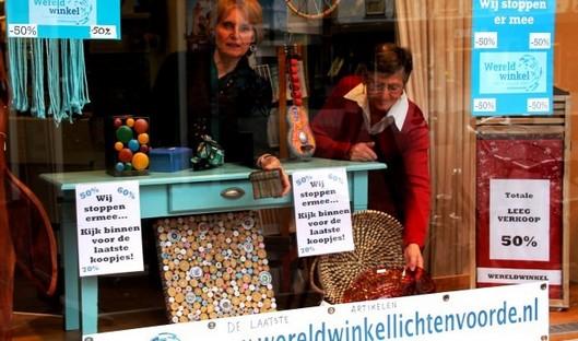 Foto etalage sluitende wereldwinkel Winterswijk